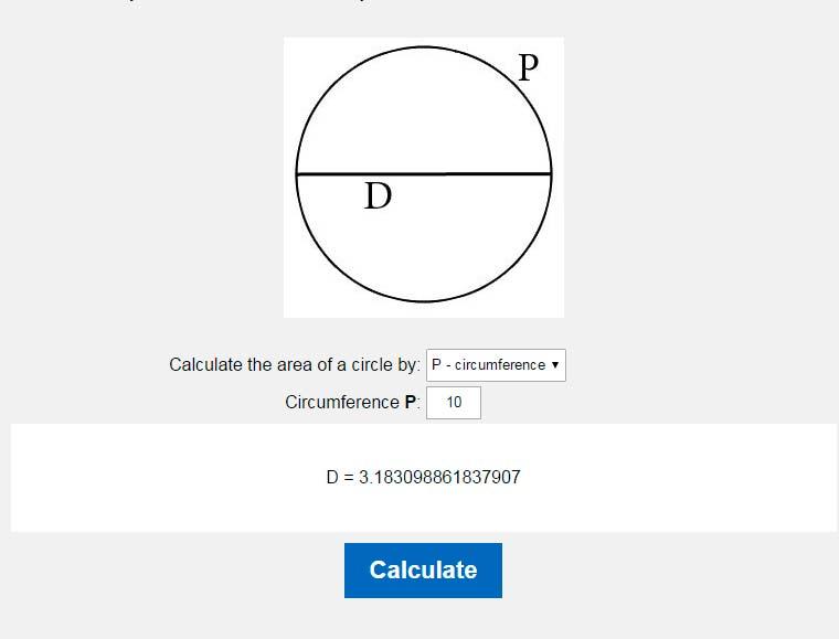 Diameter of a circle calculator  Calculate the diameter of a