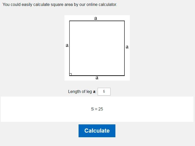 Area Of A Square Calculator