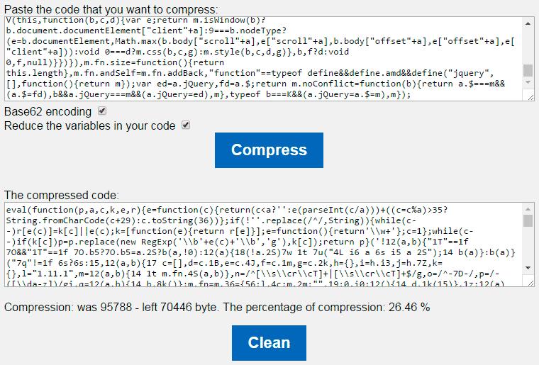 Javascript Compressor online